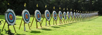 line of outdoor archery targets